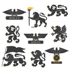 Heraldic lions and eagles set vector image