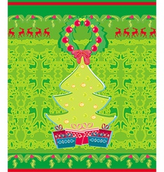 Card with xmas tree and reindeers vector