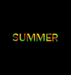 3d gradient summer season sign vector