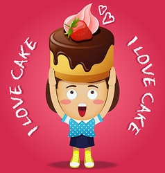 Happy woman carrying big chocolate cake with straw vector