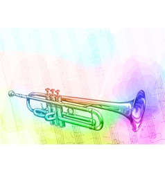 Brass trumpet iridescen colours vector