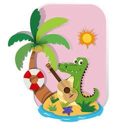 Crocodile playing guitar on island vector