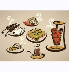 tasty arabian food vector image