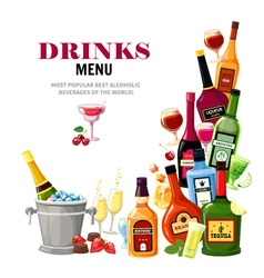 Alcoholic beverages drinks menu flat poster vector
