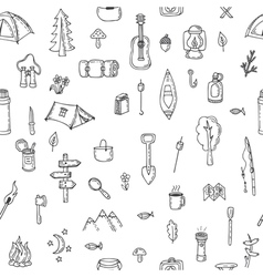 Hand drawn hike seamless pattern picnic travel vector