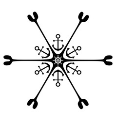 Nautical ornament anchor rudder vector