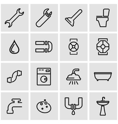 Line plumbing icon set vector