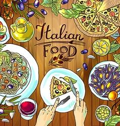 beautiful hand-draw - italian food on the wood vector image vector image