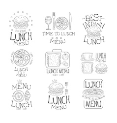 Best in town lunch menu set of hand drawn black vector