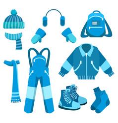 Blue winter clothes collection vector