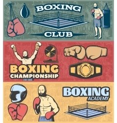 Boxing horizontal banners set vector