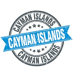 Cayman islands blue round grunge vintage ribbon vector