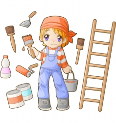 chibi professions sets painter vector image vector image