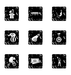 Circus chapiteau icons set grunge style vector
