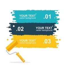 Colorful rollerbrushes background for text vector