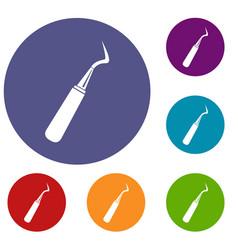 Dental probe icons set vector