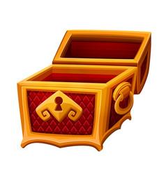 Empty golden chest vector