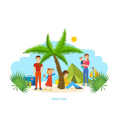 Family trip to warm country common recreation vector