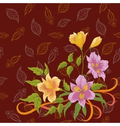 Flowers alstroemeria and leafs contours vector image vector image