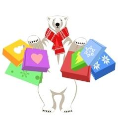 Greeting card with polar bear vector