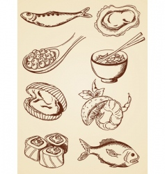 hand drawn vintage seafood vector image vector image