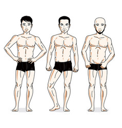 Handsome men standing in black underwear set of vector
