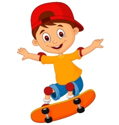 Little boy cartoon skateboarding vector image vector image
