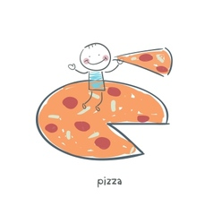 Man eats pizza vector image