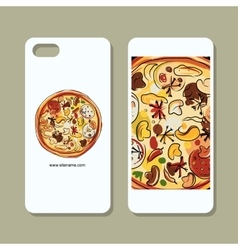 Mobile phone cover design pizza sketch vector