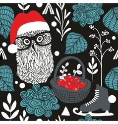 Night owl seamless pattern for Christmas vector image vector image