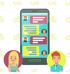 online phone chat concept - girl and boy cell vector image vector image