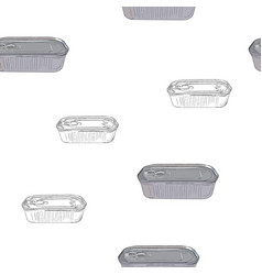 opened and closed food tin cans seamless pattern vector image vector image