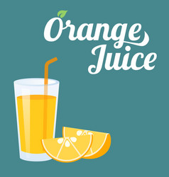 Orange juice and orange slice vector