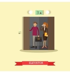 people in elevator flat vector image