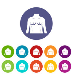 Plastic surgery of torso icons set flat vector