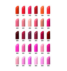 Set of color lipsticks palette vector