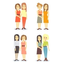 Set of happy gay LGBT women pairs vector image