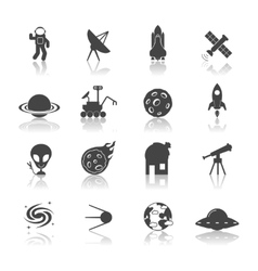 Space Icons Black vector image vector image