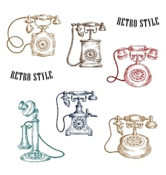 Vintage sketched handle telephone icons vector image vector image