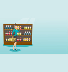 Woman holding shopping basket and bottle of sauce vector