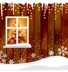 Wooden house wall with a window background vector