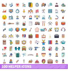 100 helper icons set cartoon style vector