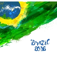 Brazilian watercolor flag vector image