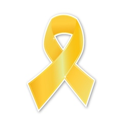 Breast cancer ribbon gold symbol on white vector