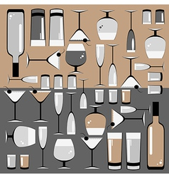 Pattern of the glasses and bottles of wine vector