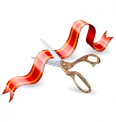 Scissors and ribbon vector