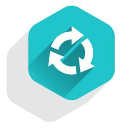 Flat arrow sign repetition icon hexagon button vector