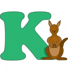 k is for kangaroo vector image