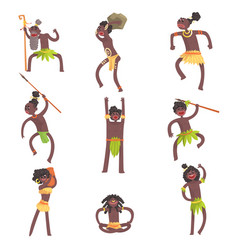 African tribe members warriors and civilians in vector