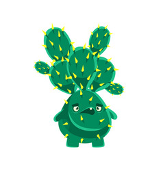 Spiny cactus speaking cartoon emotions character vector
